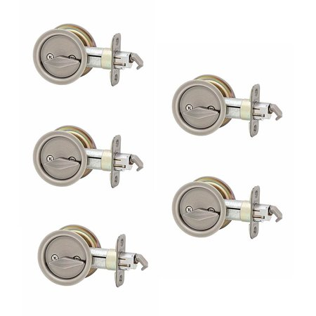 Kwikset Bed and Bath Locking Sliding Door Pull & Lock, Antique Nickel (5 Pack)