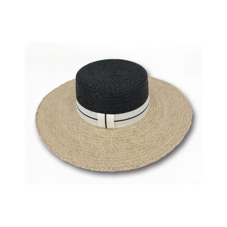 Sun Styles Foldable Crushable Letta Women's Raffia Boater Style Sun - Boater Hats