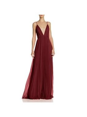 Jill Stuart Women's Gown Red Size 4 Deep V-Neck Pleated Sleeveless