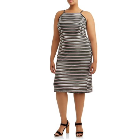 Juniors' Plus Spaghetti Strap Halter Dress