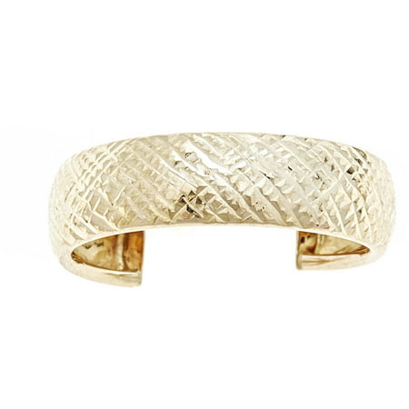 10kt Solid Yellow Gold Adjustable Toe Ring In a Diamond-Cut -