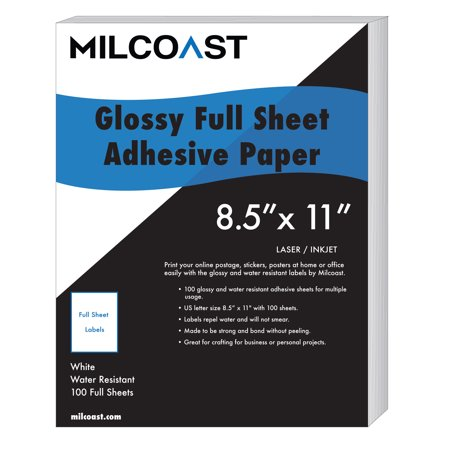 "Milcoast Full Sheet 8.5"" x 11"" Shipping Sticker Paper Adhesive Labels Glossy Water Resistant for Laser or InkJet Printer (100 Full Sheet) Color Inkjet Label Printer"