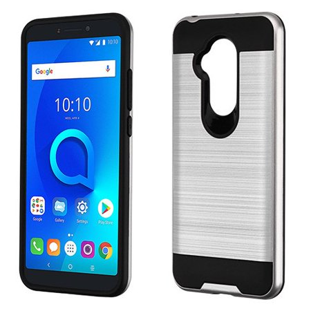 pretty nice 2f322 f7287 Phone Case For Alcatel Revvl 2 Plus, 7 Folio - Phone Case Shockproof Hybrid  Rubber Rugged Case Cover Brushed Silver
