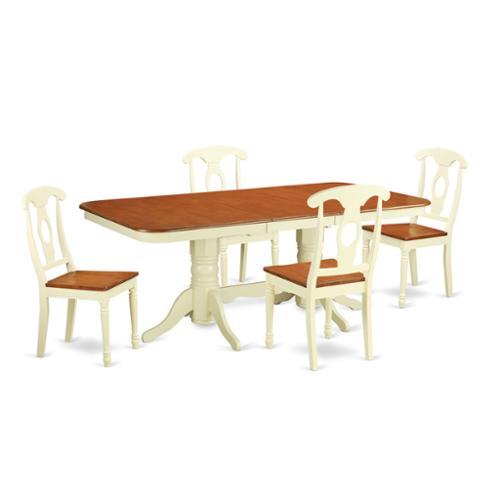 East West Furniture Two-tone Cream/Cherry Rubberwood 5-pi...