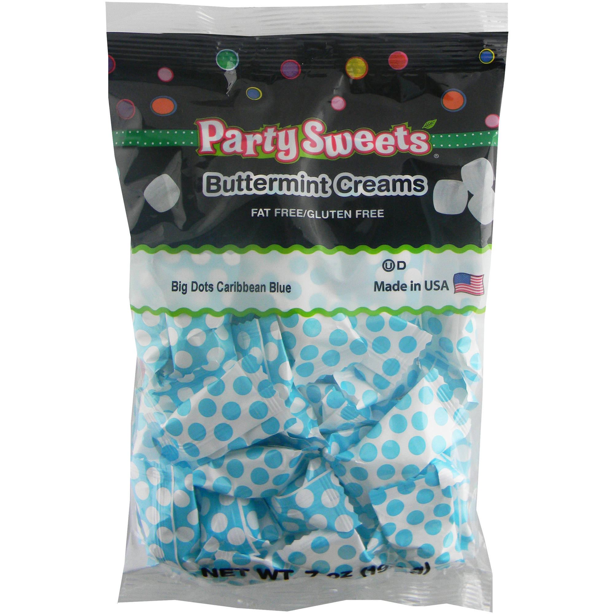 Party Sweets Big Dots Caribbean Blue Buttermint Creams Candy, 7 oz