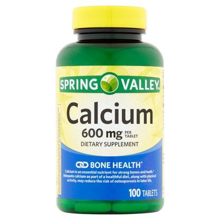 Spring Valley: Facile à avaler naturel 600 mg de calcium osseux santé supplément alimentaire, 100 Ct