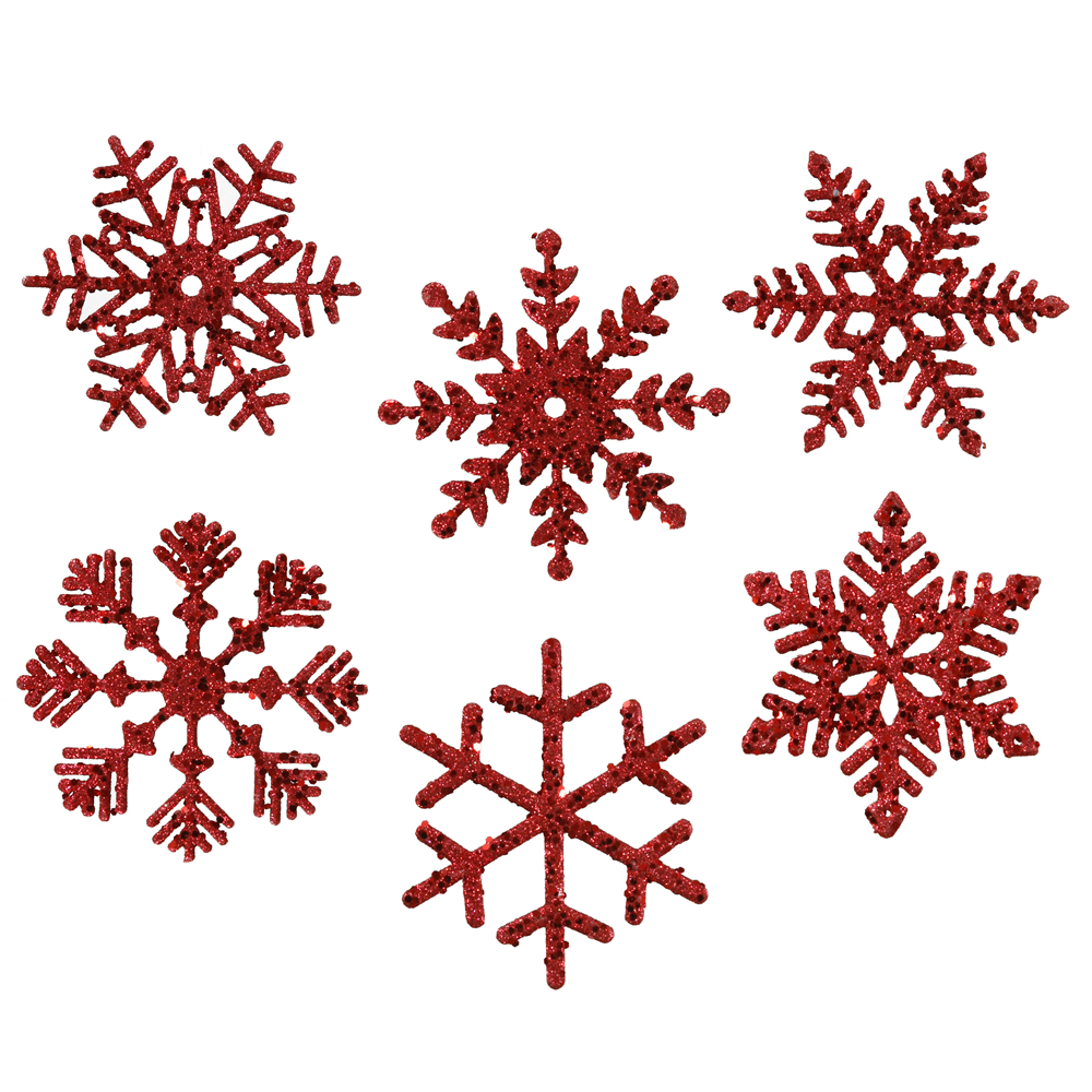 "6 Assorted 5"" Red Glitter Snowflake Christmas Ornament"