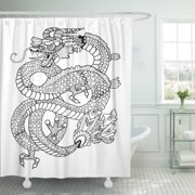 PKNMT Dragon Coloring Book Adults Anti Stress Tattoo Stencil Zentangle Black Bathroom Shower Curtain 66x72 inch