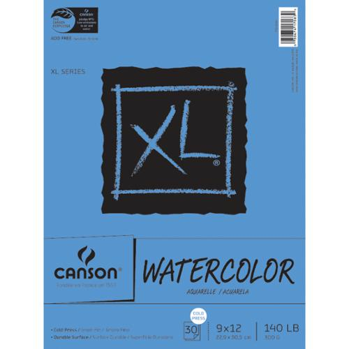 """Canson XL Watercolor Paper Pad 9""""X12""""-30 Sheets"""