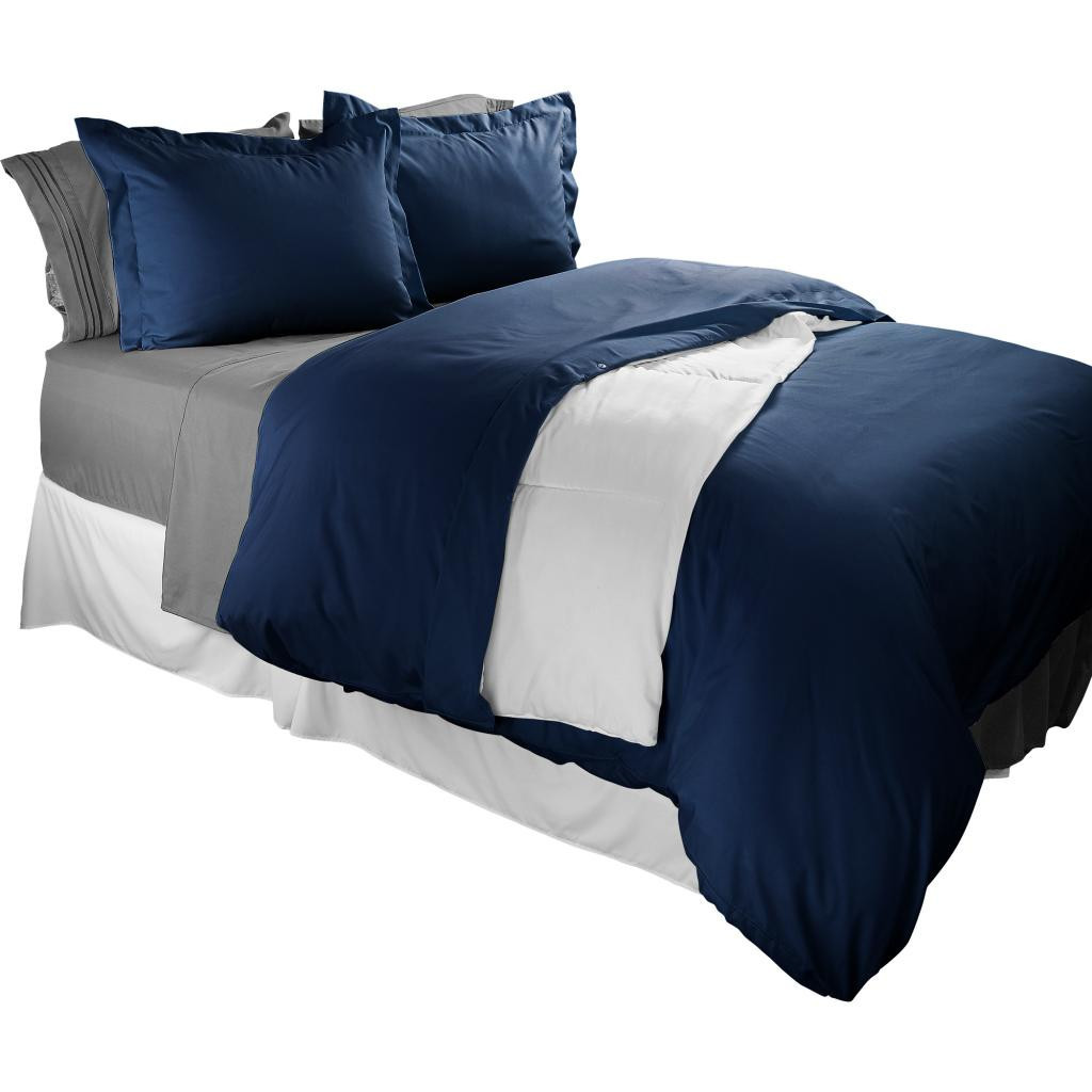 Clara Clark 1800 Series Duvet Cover Set 3pc - Includes 2 Pillow Shams King Size, Navy Blue