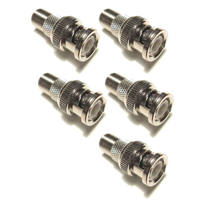 BNC Male Plug to F-Type Female Jack TV Adapter RF Coaxial Cable Connector (5/pk)