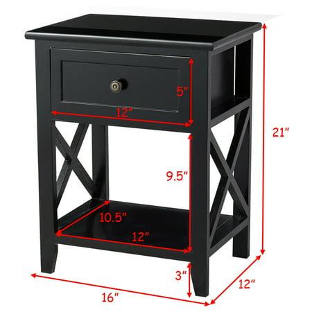 Costway 2PCS End Table Nightstand Bedside Drawer Storage W/ Bottom Shelf - image 2 de 8