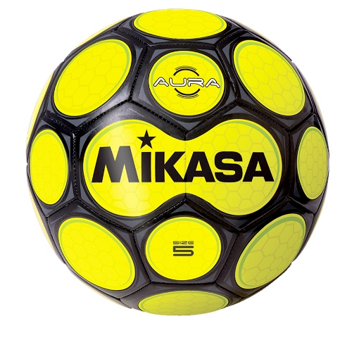 Soccer Ball by Mikasa Sports - Aura Size 5, Black/Neon Yellow