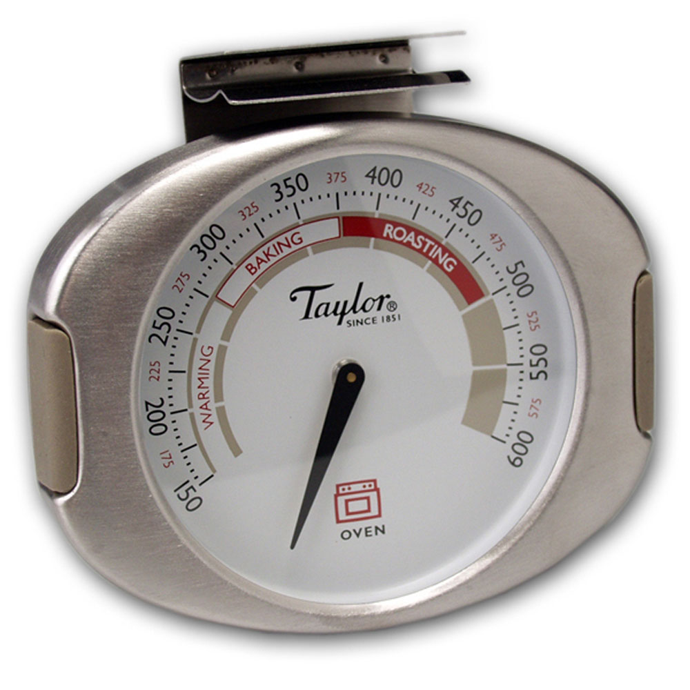 """Taylor Connoisseur Analog Dial Oven Thermometer Hang Stand Or Clip 3.5"""" Width"""