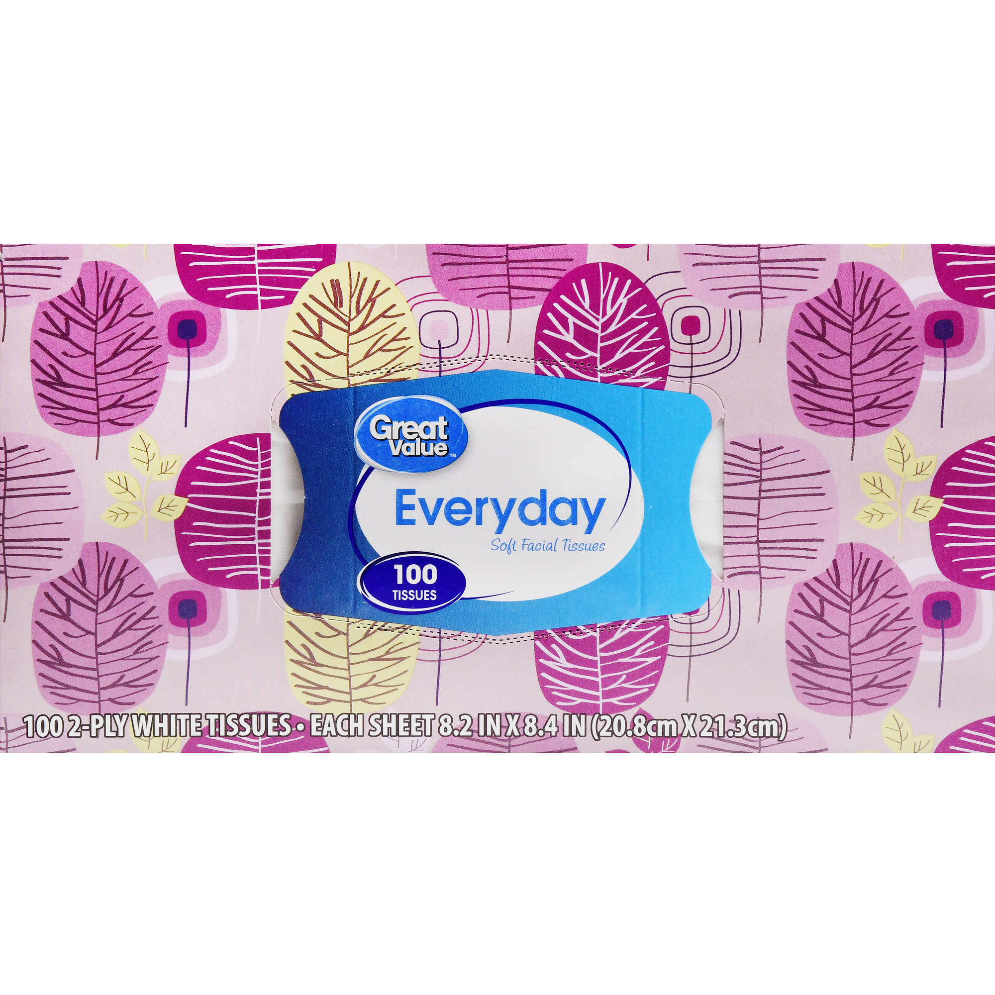 Great Value Every Soft Facial Tissues, 2 Ply, 100 Count