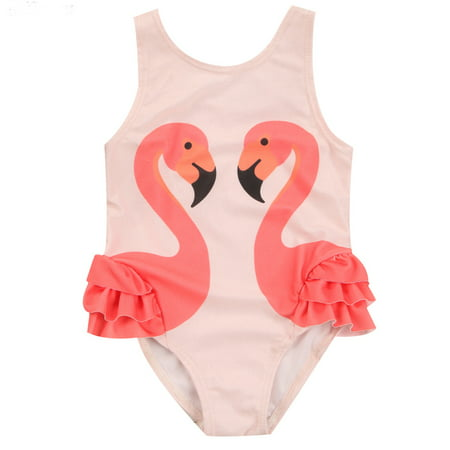 Toddler Infant Baby Girls Sleeveless 3D Swan One Piece Swimsuit Beach Bathing Suit