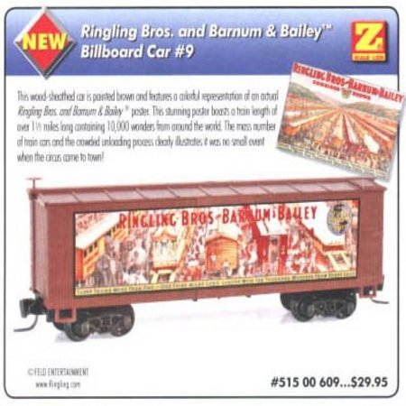 MicroTrains Ringling Bros. and Barnum & Bailey Billboard Car #9 40 Foot Wood Box Car