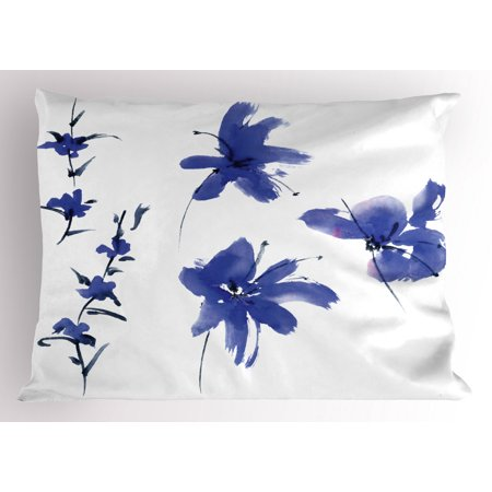 Traditional Pillow Sham Oriental Ancient Watercolor Inspired Plum Blossom Petals Eastern Artwork Print, Decorative Standard Size Printed Pillowcase, 26 X 20 Inches, Dark Violet, by Ambesonne ()