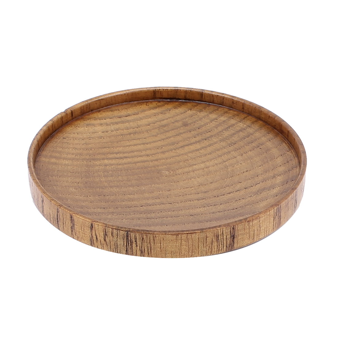 Unique Bargains Kitchen Wooden Round Shaped Rice Meat Dish Plate Tableware Brown 8.2*1cm