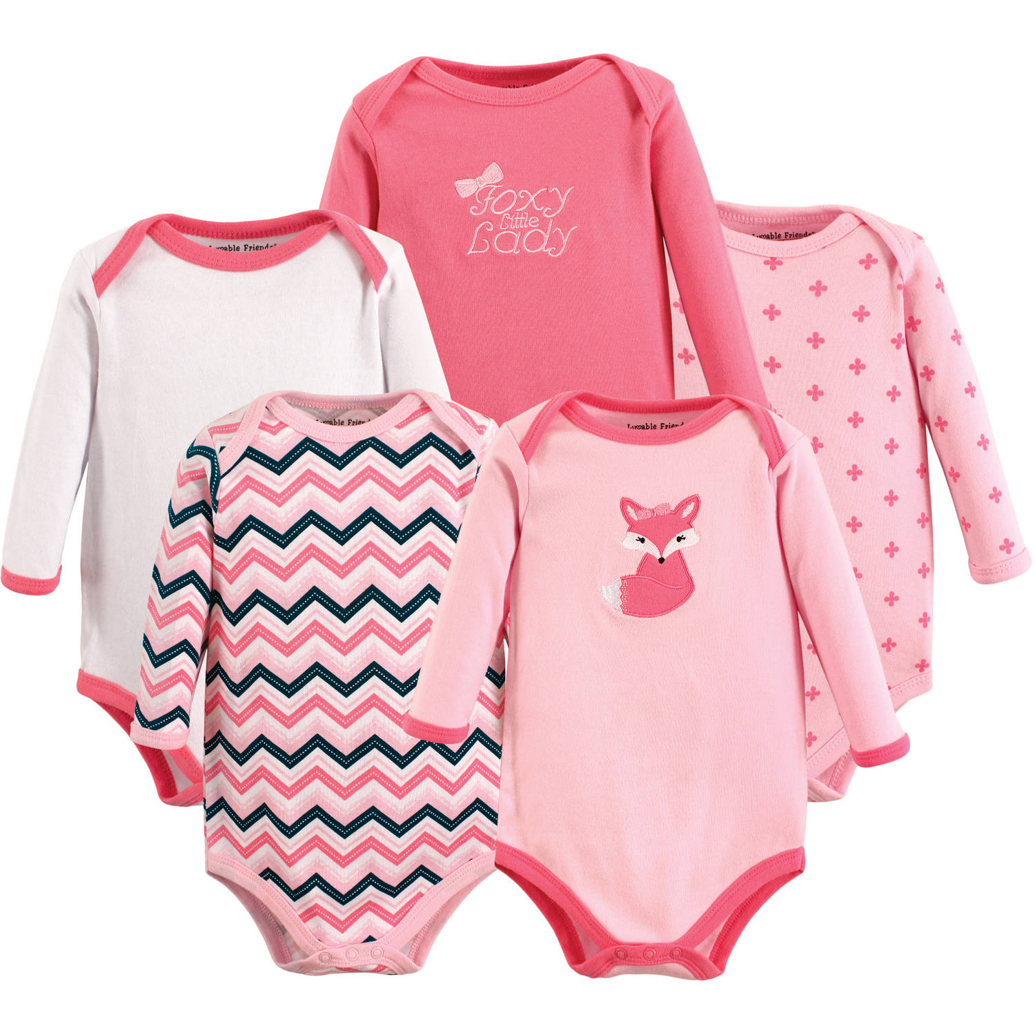 7f9c91ad7 Luvable Friends - Baby Girl Long-Sleeve Bodysuits