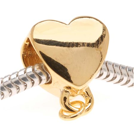 22K Gold Plated Heart Shaped Bead - Charm Bail With Loop - European Style Large Hole - Gold Heart Brads