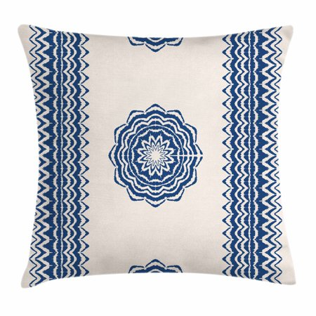 Mandala Throw Pillow Cushion Cover, Oriental Symbol with Geometric Zigzag Border Ornaments Ethnic Art Motif, Decorative Square Accent Pillow Case, 16 X 16 Inches, Dark Blue and Cream, by Ambesonne
