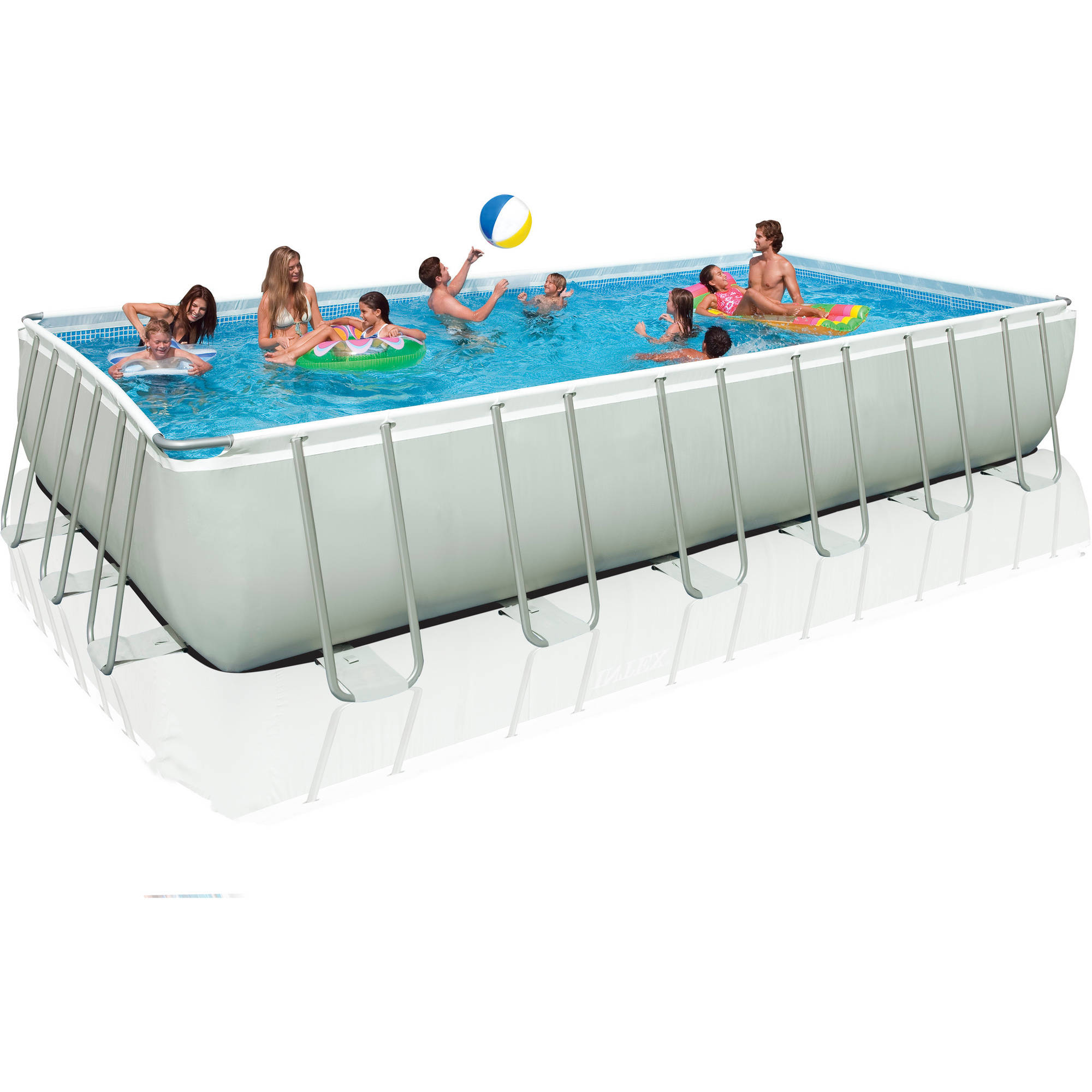 intex 24 x 12 x 52 ultra frame rectangular above ground swimming pool with sand filter pump walmartcom