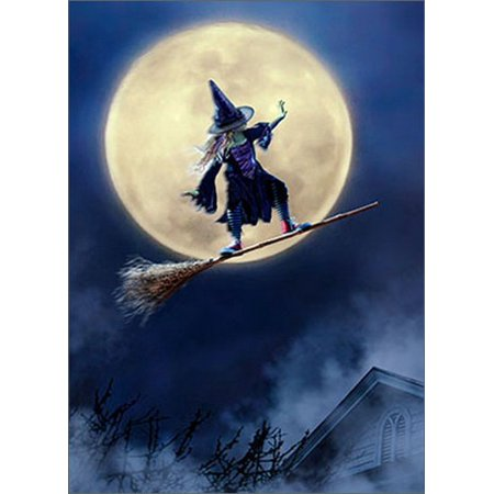 Avanti Press Girl Rides Broom As Skateboard Funny / Humorous Juvenile Halloween Card (Girl Dancing With Broom)