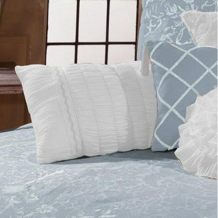 Veratex Celestine Boudoir Pillow, 13-Inch-by-20-Inch Light Blue ()