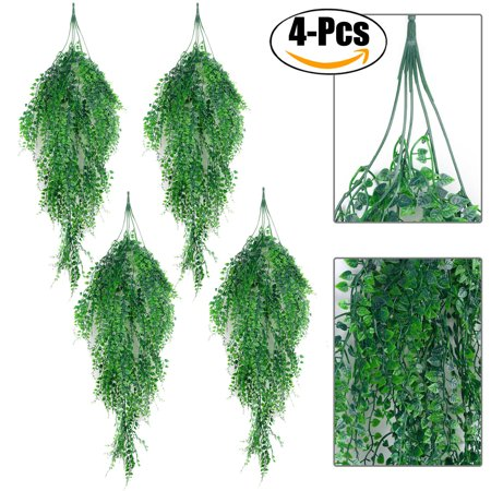 Ivy Leaf (4 Pcs Artificial Hanging Plant, Justdolife Simulated Leaves Fake Green Ivy Fake Hanging Plants for Indoor Outdoor Wedding Wall)