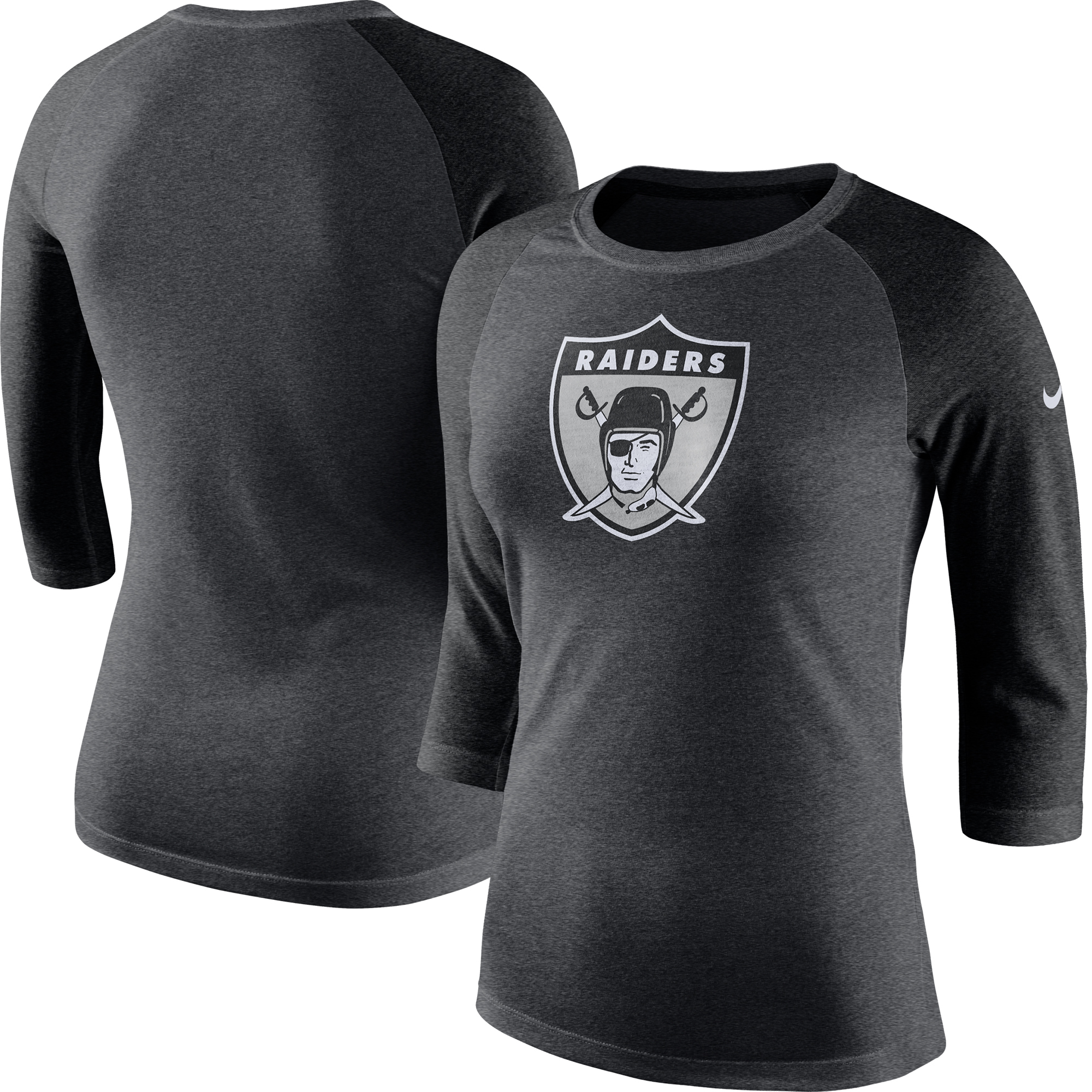 Oakland Raiders Nike Women's Marled Throwback Logo Tri-Blend 3/4-Sleeve Raglan T-Shirt - Charcoal/Black