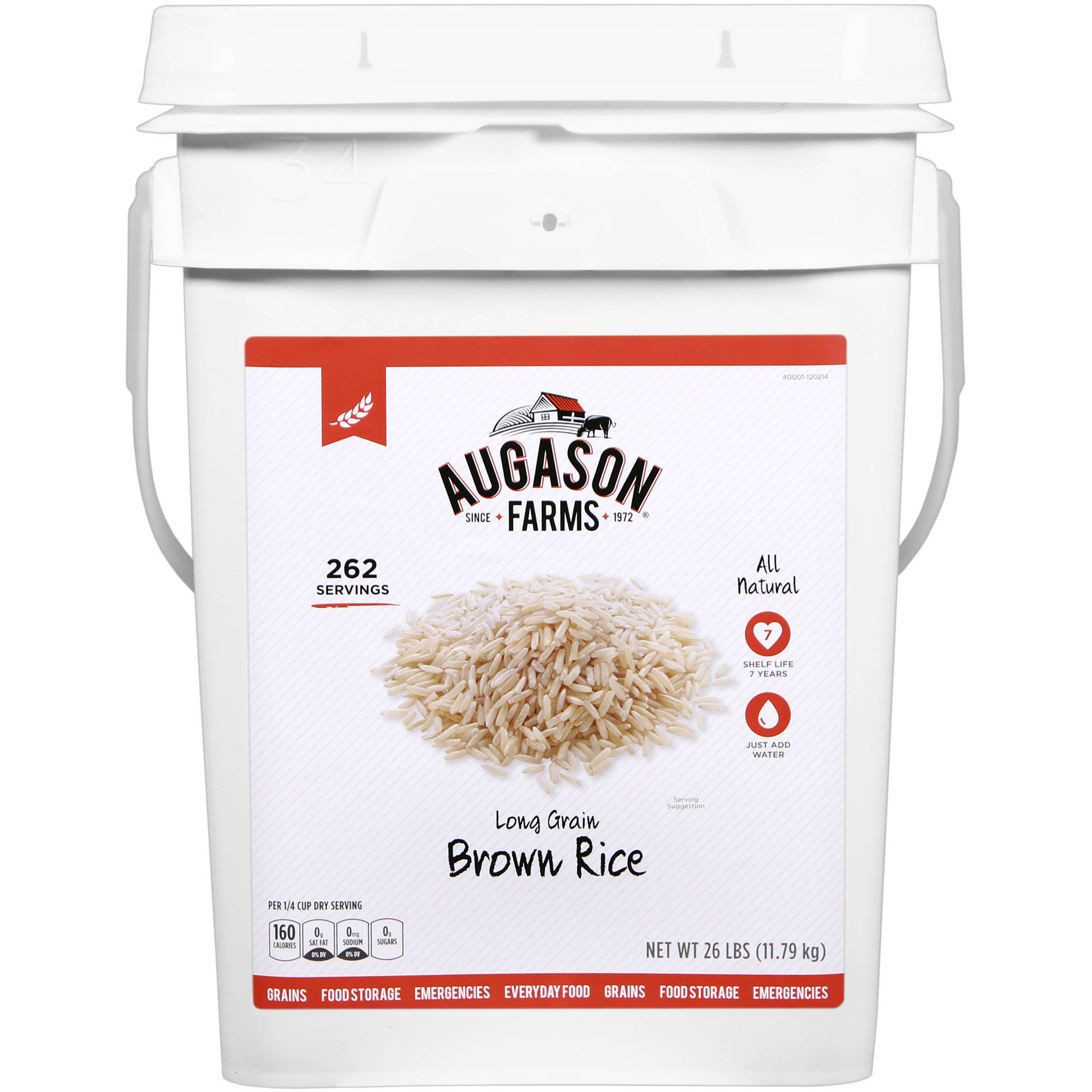 Augason Farms Emergency Food Long Grain Brown Rice, 26 lb