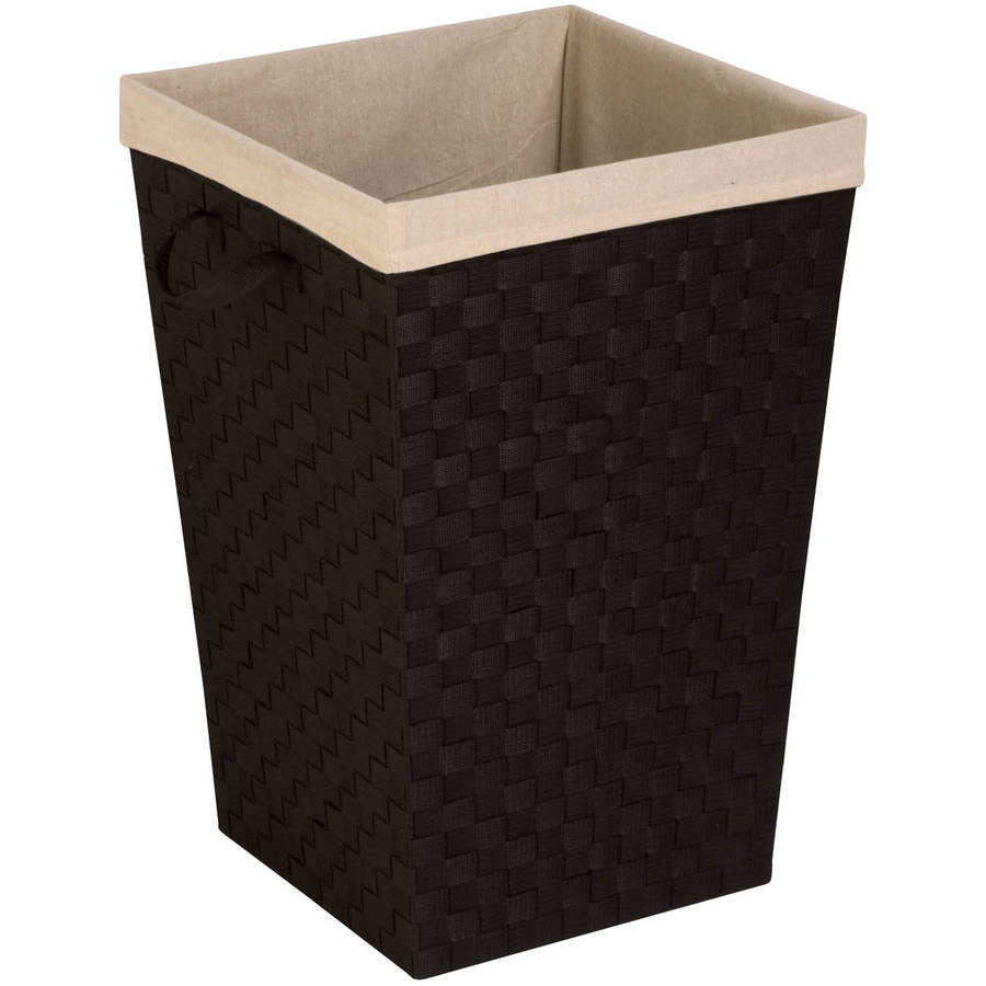 Honey-Can-Do Woven Strap Laundry Hamper with Liner, Black