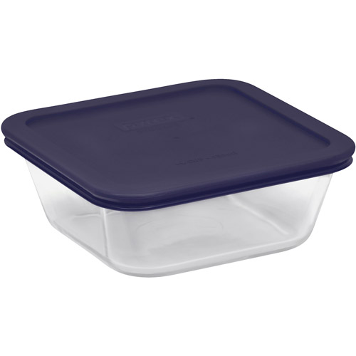 Pyrex 4-Piece Storage Plus 4-Cup Square Set with Plastic Covers, Glass