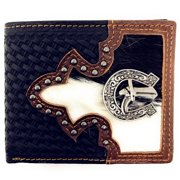 Western Genuine Woven Leather Cowboy Boot Cowhide Mens Bifold Short Wallet