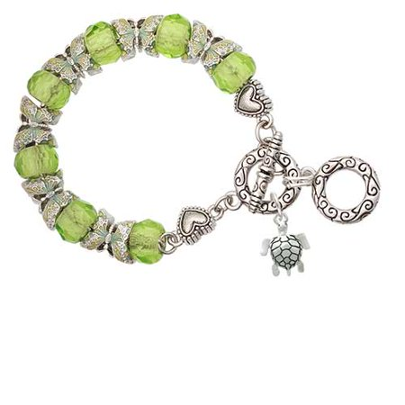 Green Turtle Charm (Sea Turtle Lime Green Butterfly Bead Charm Bracelet)