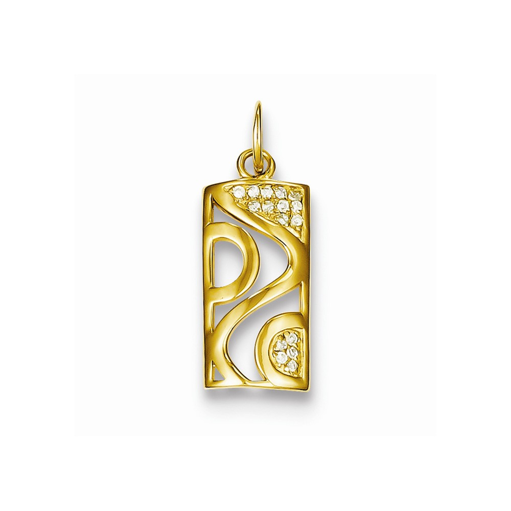Sterling Silver Gold Plated CZ Rectangle Pendant