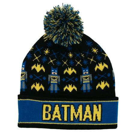 Batman DC Comics Intarsia Comic Book Movie Universal Pom Beanie Winter Knit Hat (Beanie Hat Dc)