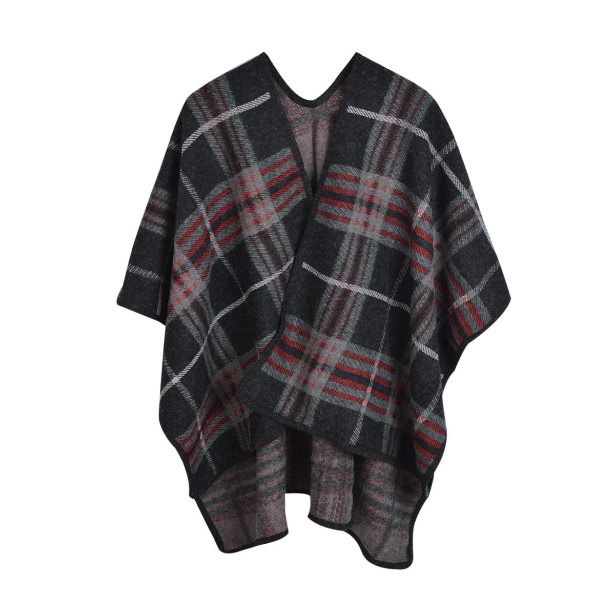 Premium Warm Winter Check Plaid Blanket Poncho Shawl Cape Wrap by TrendsBlue