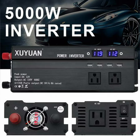 5000W Power Inverter DC12V to AC110V Sine Wave Convert with 4 USB Ports 2 Sockets for Camp