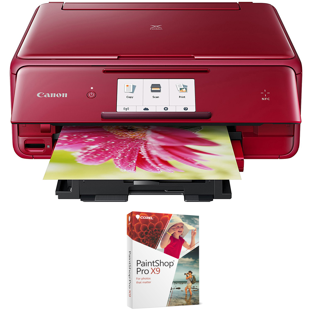Canon PIXMA TS8020 Wireless All-In-One Printer with Scanner,Copier Black (1369C002)with Corel Paint Shop Pro X9 Digital Download