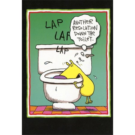Nobleworks Resolution Toilet Funny / Humorous New Year Card