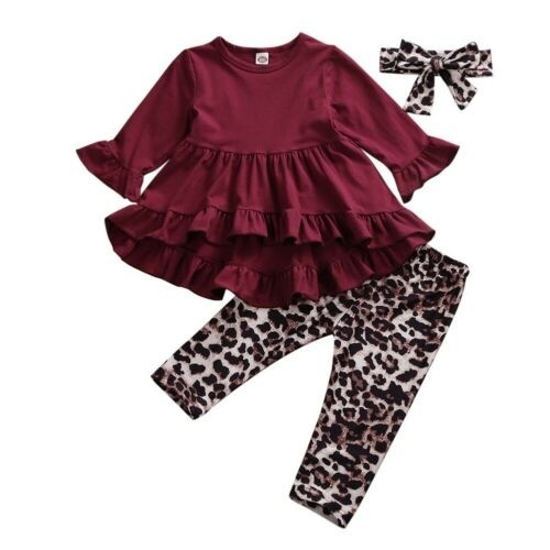 3Pcs Kid Baby Girl Cotton Outfit Clothes Ruffle Tops Pants Leggings Headband Fall Winter Baby Clothes Set