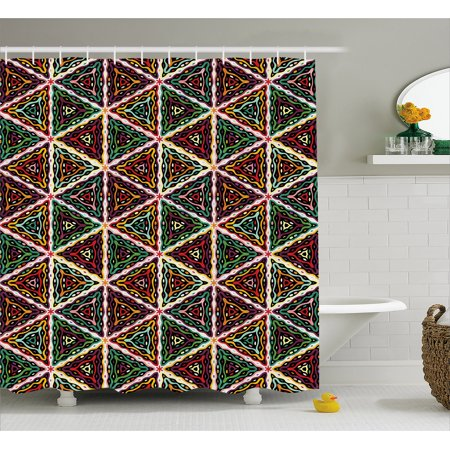 African Shower Curtain, Grunge Triangle Design Colorful Geometric Mosaic Traditional Batik Pattern Retro, Fabric Bathroom Set with Hooks, 69W X 84L Inches Extra Long, Multicolor, by - Traditional Batik