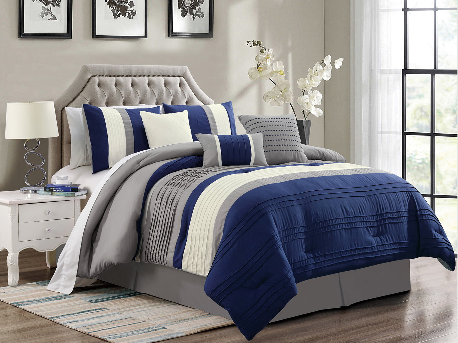 7 Pc Liam Pleated Pintuck Stripe Comforter Set Navy Blue Ivory Gray King Walmart Com Walmart Com