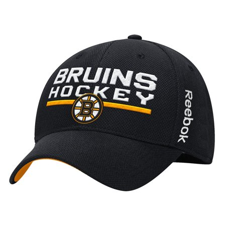 - Boston Bruins Locker Room Structured Flex Hat (Black) S/M, 46% Polyester, 36% Cotton, 12% Rayon, 4% Spandex By Reebok