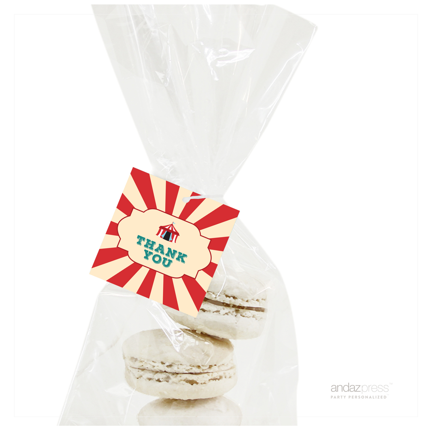 Thank You  Carnival Circus Birthday Square Gift Tags, 24-Pack