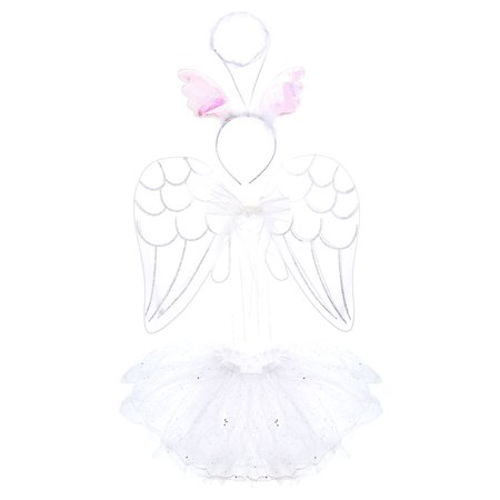 Pretend Play Dress Up Mozlly White Angel Childrens Tutu Costume Set (3pc Set)