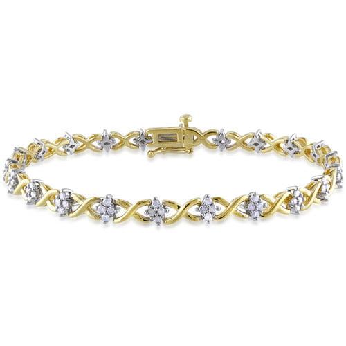 "Miabella 1 Carat T.W. Diamond Yellow Rhodium over Sterling Silver ""XOX"" Style Tennis Bracelet, 7.25"""