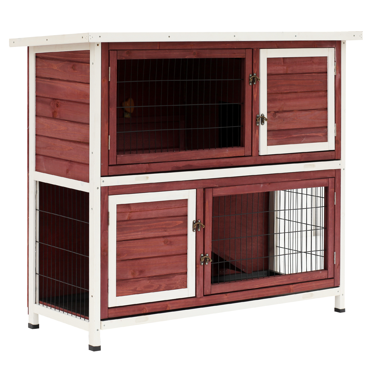 Pawhut Enclosed 2 Story 48 in. Rabbit Hutch with Pull Out Tray and Ramp